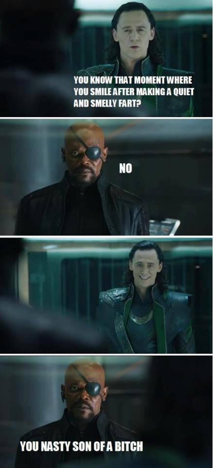 loki does a silent but deadly, nick fury is not amused