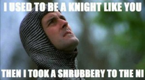 I used to be a knight like you until I took a shrubbery to the ni